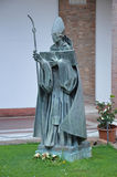 St Anselm Statue. A bronze statue of St Anselm in the atrium of the Church of Sant' Anselmo all'Aventino. Photo taken April 2015 Stock Photos