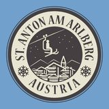 St. Anton am Arlberg in Austria, ski resort. Abstract stamp or emblem with the name of town St. Anton am Arlberg in Austria, ski resort, vector illustration Royalty Free Stock Photos