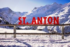 St. Anton sign in the mountains Stock Photos