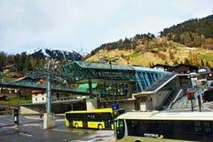 St Anton Tyrol Austria dell'ascensore della località di soggiorno di inverno Fotografie Stock