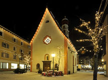 The St. Antonio chapel on the main square of Ortisei Stock Photography