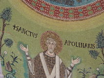 St. Apollinare Church. In Classe, a small village near Ravenna, is the most famous  Byzantine church in Italy. Inside there is an apse covered with mosaics Stock Photos
