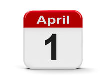 1st April. Calendar web button - First of April - Fool's day, three-dimensional rendering stock illustration