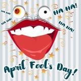 1st April-de illustratie van de dwaasdag met grote het lachen mond Stock Afbeelding