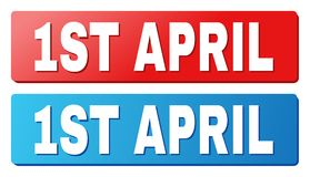 1ST APRIL Title on Blue and Red Rectangle Buttons. 1ST APRIL text on rounded rectangle buttons. Designed with white caption with shadow and blue and red button vector illustration