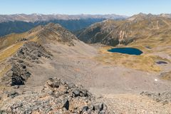 St Arnaud mountain range in Nelson Lakes National Park, New Zealand. Aerial view of St Arnaud mountain range in Nelson Lakes National Park, New Zealand Stock Photo