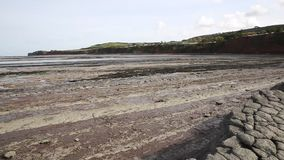 St Audries Bay beach Somerset pan view stock footage