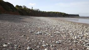 St Audries Bay beach Somerset pebbles and shingle stock footage