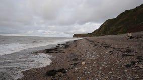 St Audries Bay shingle beach Somerset England uk near Watchet stock video footage
