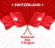 1st August. Swiss National Day. Vector illustration of national holiday with Swiss flag and Patriotic elements. Creative. Concept for posters, greetings Vector Illustration