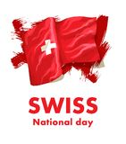 1st August. Swiss National Day. Vector illustration of national holiday with Swiss flag and Patriotic elements. Creative. Concept for posters, greetings Royalty Free Illustration