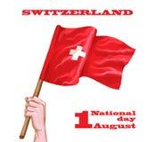 1st August Swiss National Day Vektorillustrationen av nationell ferie med schweizaren sjunker och patriotiska beståndsdelar idéri stock illustrationer