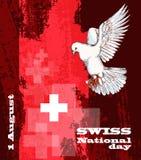 1st August Swiss National Day Vektorillustrationen av nationell ferie med schweizaren sjunker och patriotiska beståndsdelar idéri royaltyfri illustrationer
