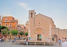 St Augustine Church i Taormina Royaltyfri Bild