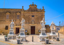 St Augustine Convent. Saint Augustine convent with statues at the entrance in Victoria, in the island of Gozo, Malta Royalty Free Stock Image
