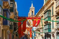 St Augustine Feast van Valletta, Malta Royalty-vrije Stock Foto's