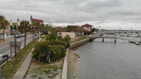 ST AUGUSTINE, FL - APRIL 9, 2018: Aerial city view on a cloudy d Stock Photography