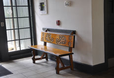 St Augustine FL,August 8th:Bench in Visitor Center interior from St Augustine in Florida Stock Photos