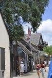 St Augustine FL, Augusti 8th: Gatasikt i det koloniala länet av St Augustine från Florida Royaltyfri Fotografi