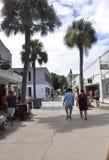 St Augustine FL, Augusti 8th: Gatasikt i det koloniala länet av St Augustine från Florida Royaltyfria Bilder