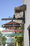 St Augustine FL, o 8 de agosto: Quadros indicadores no condado colonial de St Augustine de Florida Foto de Stock Royalty Free