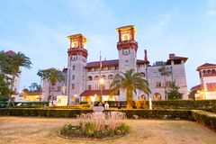 St Augustine Flagler College at night, Florida.  Royalty Free Stock Image