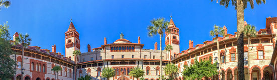 ST. AUGUSTINE, FLORIDA - FEBRUARY 2016: Panoramic view of Flagle. R College. St Augustine is a famous Florida destination Stock Images