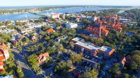 St Augustine Florida Flyg- sikt på skymning Royaltyfri Foto