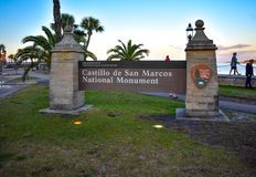 Castillo de San Marcos Monument Sign at Old Town in Florida`s Historic 71 stock photography