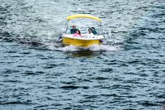 Colorful boat sailling in Matanzas Bay in Florida`s Historic Coast. stock photo