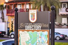 Directory Map Sign at Old Town in Florida`s Historic Coast. St. Augustine, Florida. January 26 , 2019 . Directory Map Sign at Old Town in Florida`s Historic royalty free stock photos