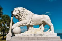 St. Augustine, Florida. January 26 , 2019 . Lion on Bridge of Lions built in 1924 at Old Town in Florida`s Historic Coast. St. Augustine, Florida. January 25 stock images