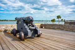 Cannon on gundeck in Castillo de San Marcos Fort 2 royalty free stock photos