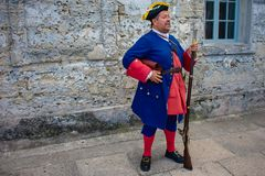 Reenactor dressed as a Spanish soldier of the seventeenth century  in Florida`s Historic Coast. 2. St. Augustine, Florida. March 31 , 2019 . Reenactor dressed as stock images