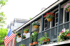 St. Augustine, Florida. old city town balcony. And flowers royalty free stock photos