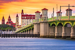 St. Augustine Florida. St. Augustine, Florida, USA city skyline and Bridge of Lions Stock Photography