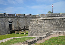 St Augustine fort with moat and drawbridge. Royalty Free Stock Photo