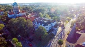 St Augustine, la Floride Vue aérienne au crépuscule Images stock