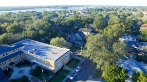 St Augustine, la Floride Vue aérienne au crépuscule photo stock