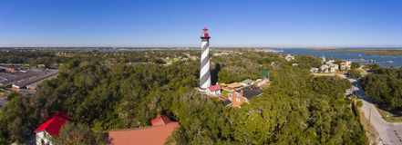 St. Augustine Lighthouse, Florida, USA. St. Augustine Lighthouse aerial view panorama. This light is a National Historic Landmark on Anastasia Island in St stock photography