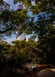 St. Augustine Lighthouse. A place to sit in the shade beneath the St. Augustine Lighthouse on the Atlantic Coast of Florida stock images