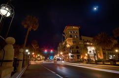 St augustine miasta scen uliczny atnight zdjęcie royalty free