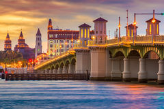 St. Augustine Skyline. St. Augustine, Florida, USA skyline at the Bridge of Lions royalty free stock image
