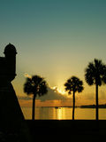 St. Augustine Sunrise. Great sunrise of the Castillo de San Marcos in St. Augustine. Plenty of room for text in the sky Royalty Free Stock Photo