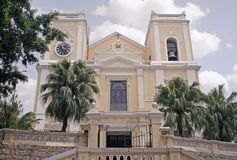 St. Augustines Church. Macau, China - May 5 - St. Augustines Church, another demonstration of beautifully preserved Portuguese colonial architecture in Macau stock images