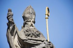 St. Augustinus or Augustine of Hippo Statue at Charles Bridge in Prague, Czech Republic. St. Augustinus or Augustine of Hippo Statue for Czechia people and Royalty Free Stock Photos