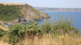St Austell Bay from Black Head headland towards Porthpean and Par Cornwall Royalty Free Stock Photo