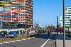 1st av den Maj protesten i Hamburg Royaltyfri Foto