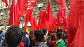 1st av kan, manifestionen av den italienska kommunistpartiet Fotografering för Bildbyråer