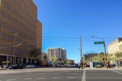 1st Ave en Jefferson St, Phoenix, AZ Royalty-vrije Stock Afbeeldingen